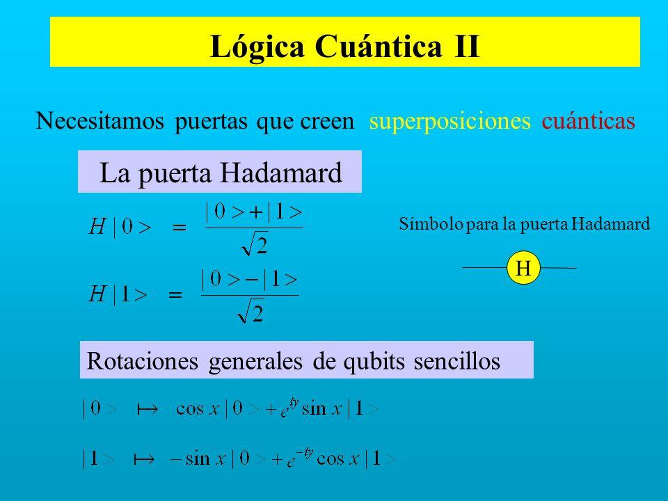 Lógica Cuántica II La puerta Hadamard