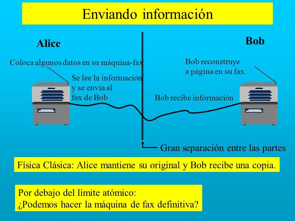 Enviando información Bob Alice Gran separación entre las partes