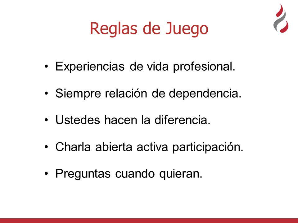 Reglas de Juego Experiencias de vida profesional.