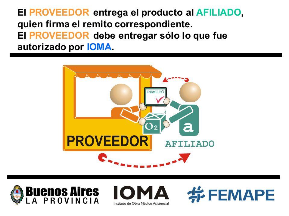 El PROVEEDOR entrega el producto al AFILIADO, quien firma el remito correspondiente.