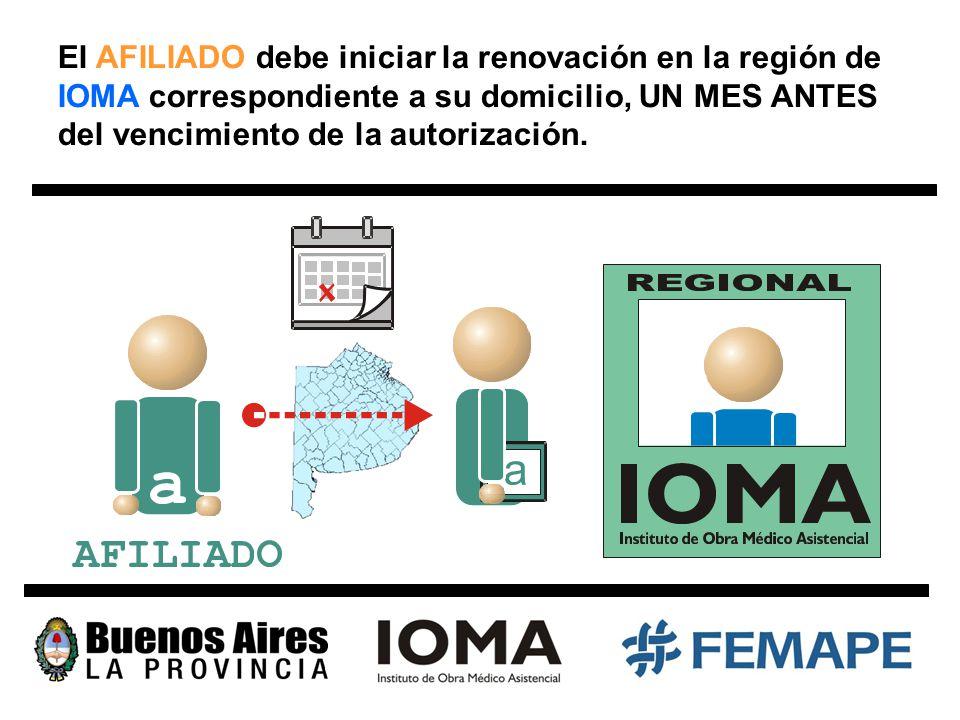 El AFILIADO debe iniciar la renovación en la región de IOMA correspondiente a su domicilio, UN MES ANTES del vencimiento de la autorización.
