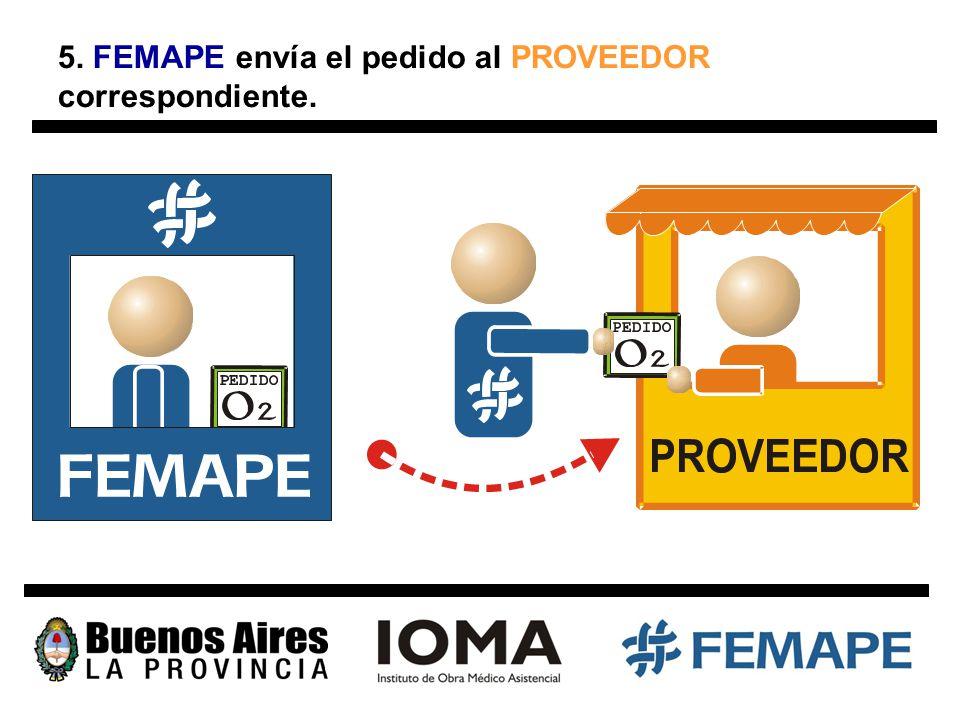 5. FEMAPE envía el pedido al PROVEEDOR correspondiente.