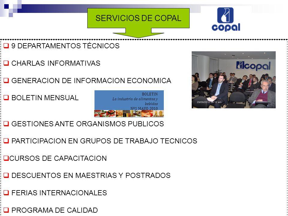 SERVICIOS DE COPAL 9 DEPARTAMENTOS TÉCNICOS CHARLAS INFORMATIVAS