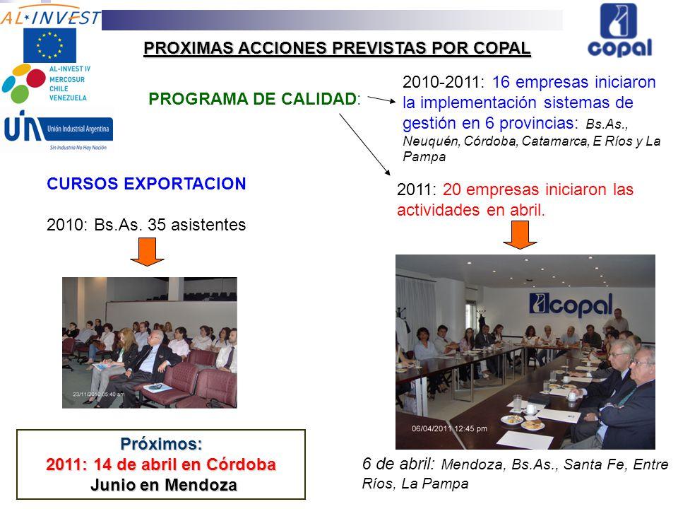 PROXIMAS ACCIONES PREVISTAS POR COPAL