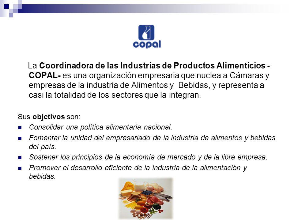 La Coordinadora de las Industrias de Productos Alimenticios - COPAL- es una organización empresaria que nuclea a Cámaras y empresas de la industria de Alimentos y Bebidas, y representa a casi la totalidad de los sectores que la integran.