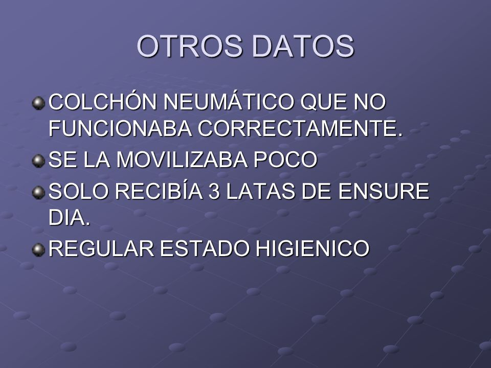 OTROS DATOS COLCHÓN NEUMÁTICO QUE NO FUNCIONABA CORRECTAMENTE.