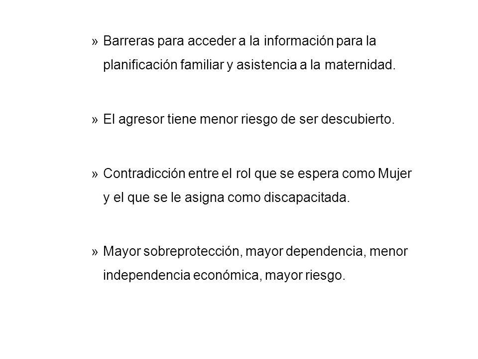 Barreras para acceder a la información para la planificación familiar y asistencia a la maternidad.