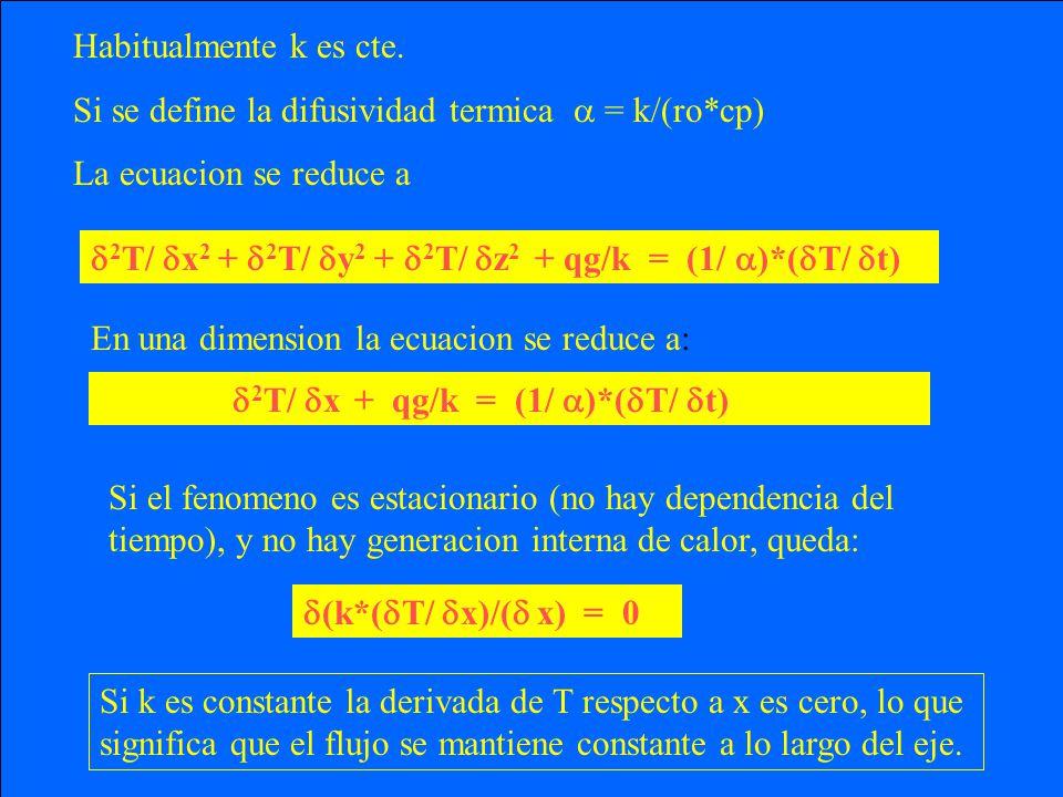Habitualmente k es cte. Si se define la difusividad termica  = k/(ro*cp) La ecuacion se reduce a.