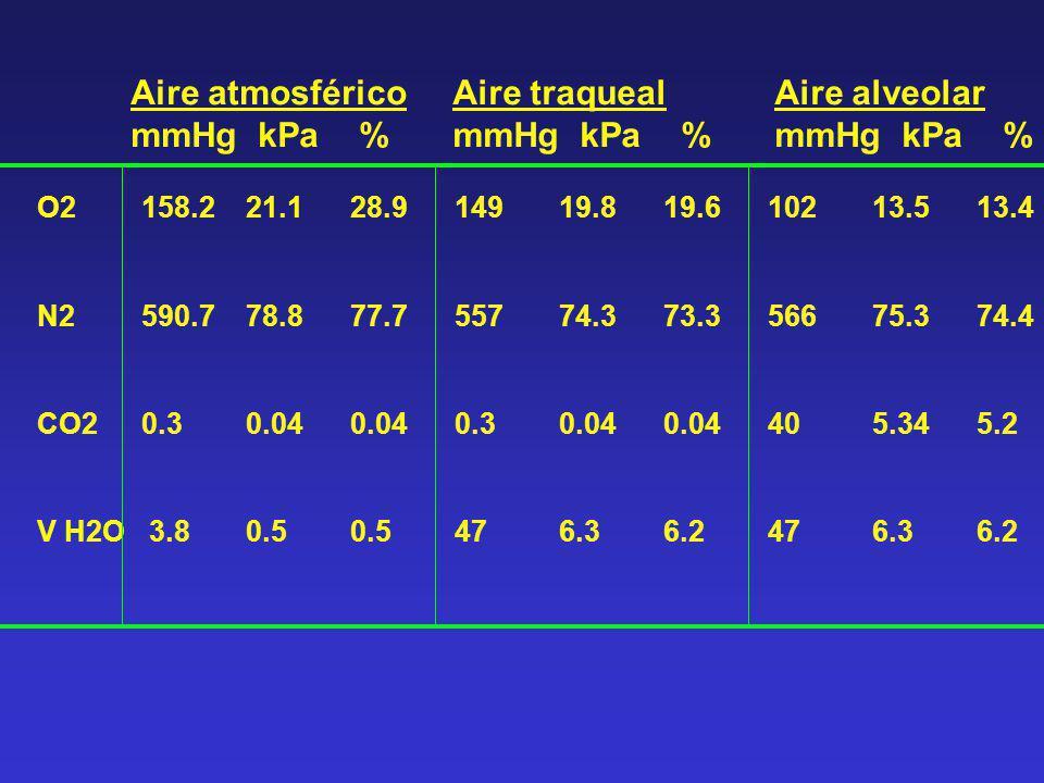 Aire atmosférico mmHg kPa % Aire traqueal mmHg kPa % Aire alveolar