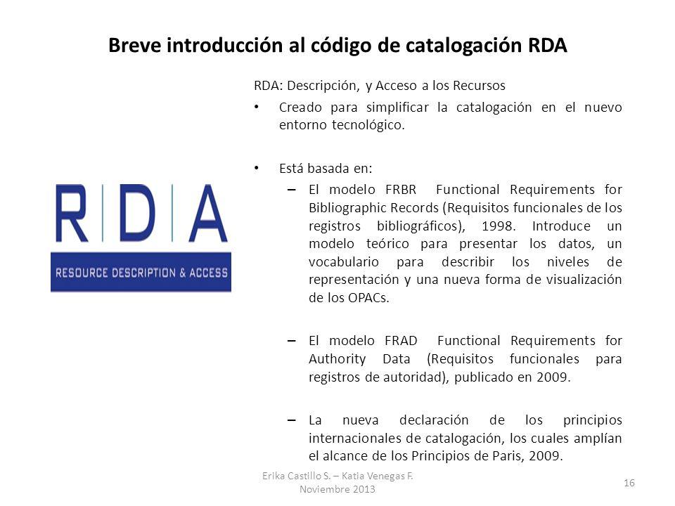 Breve introducción al código de catalogación RDA