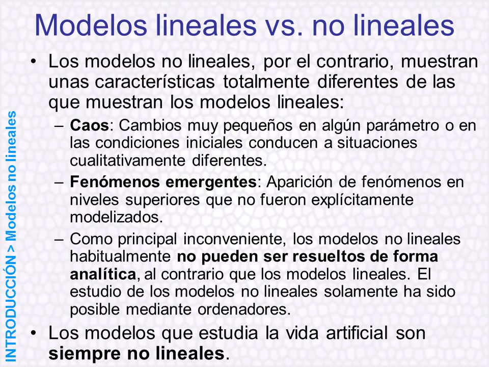 Modelos lineales vs. no lineales
