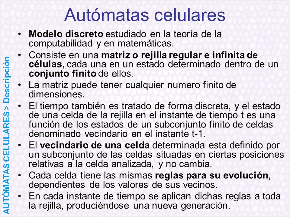 Autómatas celularesModelo discreto estudiado en la teoría de la computabilidad y en matemáticas.