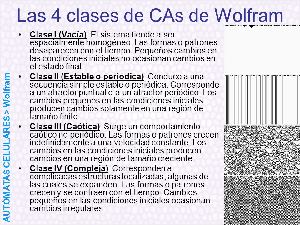 Las 4 clases de CAs de Wolfram