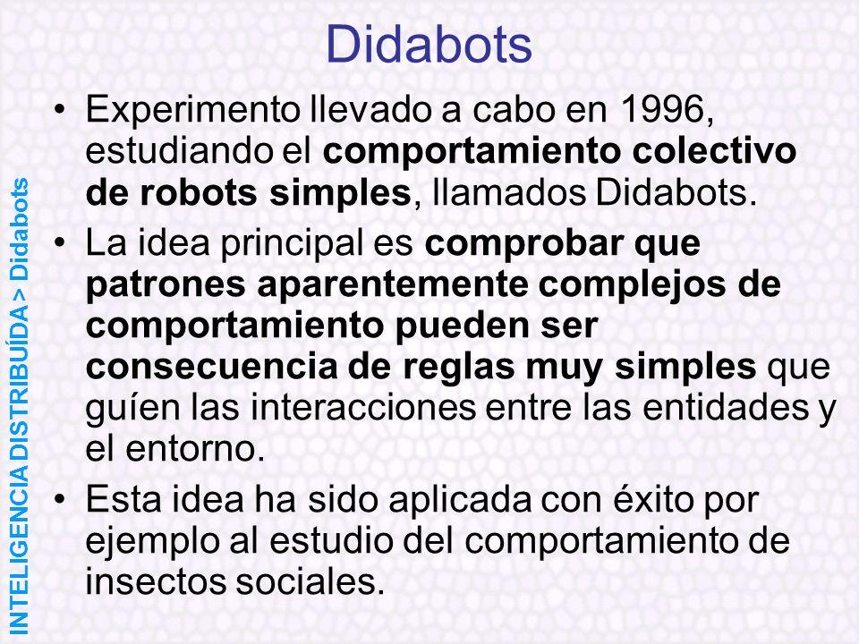 DidabotsExperimento llevado a cabo en 1996, estudiando el comportamiento colectivo de robots simples, llamados Didabots.