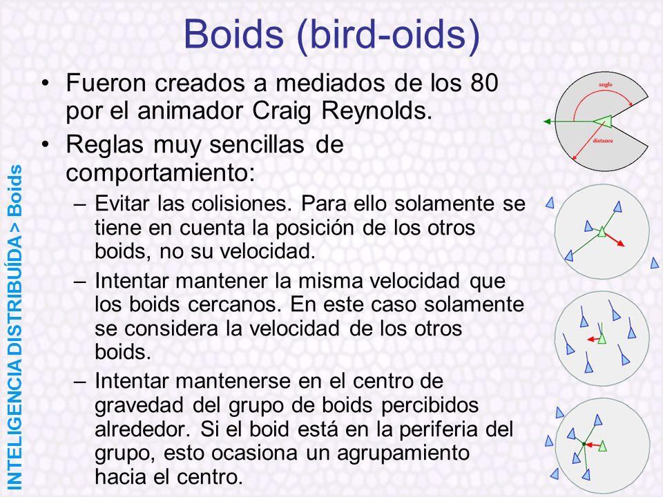 Boids (bird-oids) Fueron creados a mediados de los 80 por el animador Craig Reynolds. Reglas muy sencillas de comportamiento: