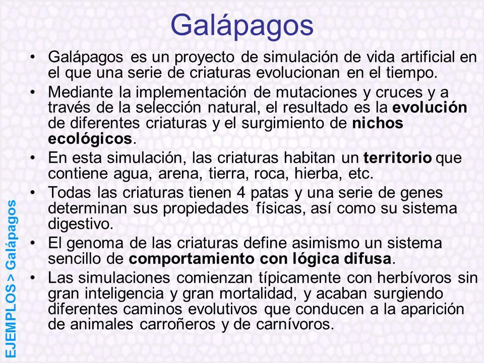 GalápagosGalápagos es un proyecto de simulación de vida artificial en el que una serie de criaturas evolucionan en el tiempo.