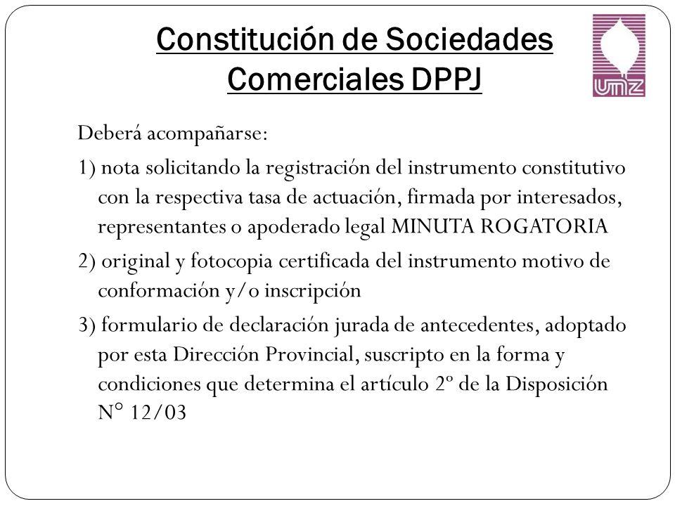 Constitución de Sociedades Comerciales DPPJ