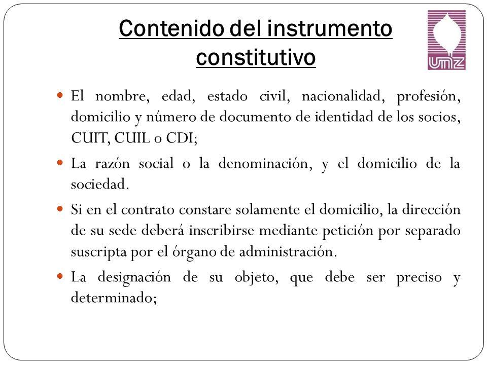 Contenido del instrumento constitutivo