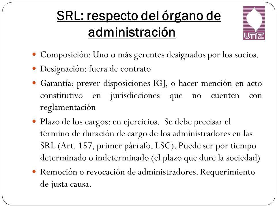 SRL: respecto del órgano de administración