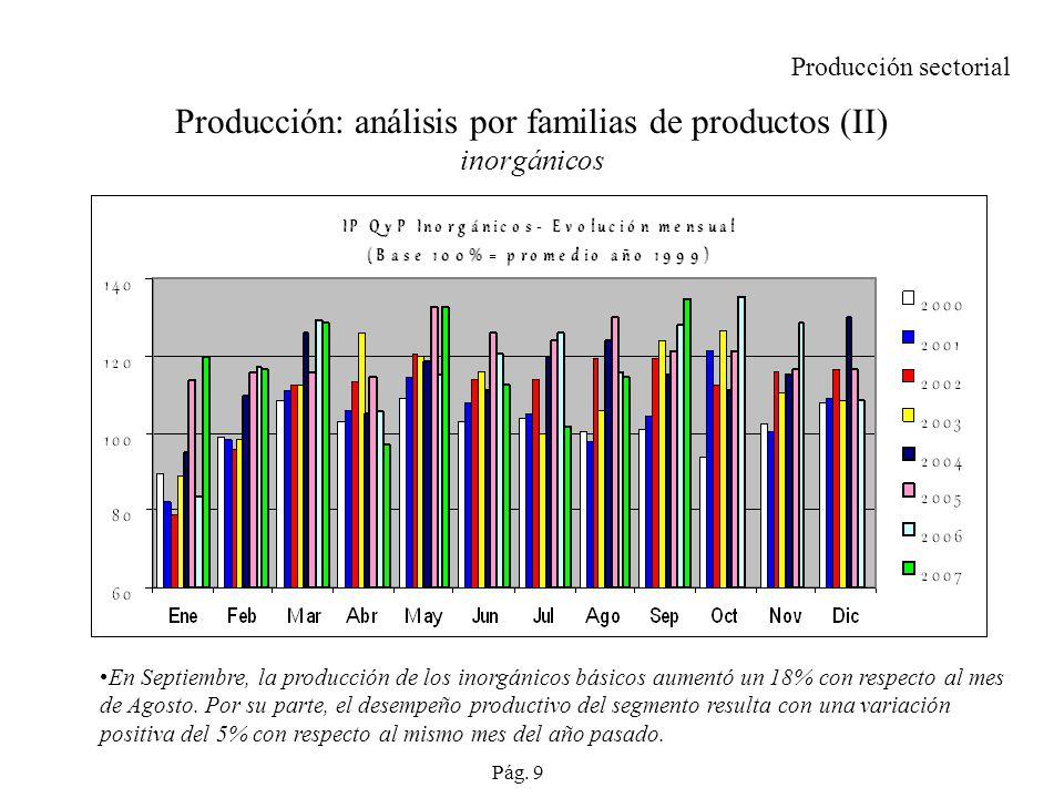 Producción: análisis por familias de productos (II) inorgánicos