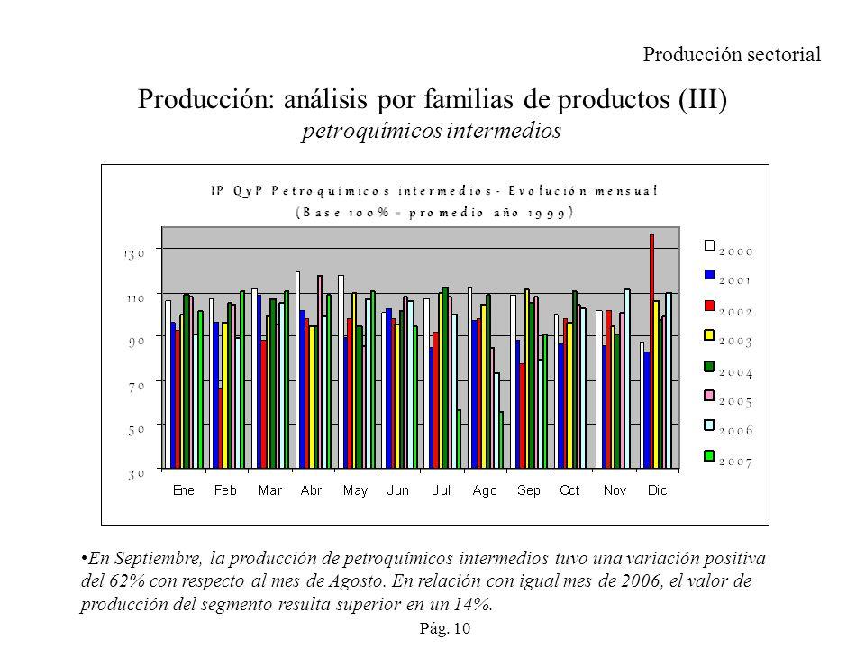 Producción sectorial Producción: análisis por familias de productos (III) petroquímicos intermedios.