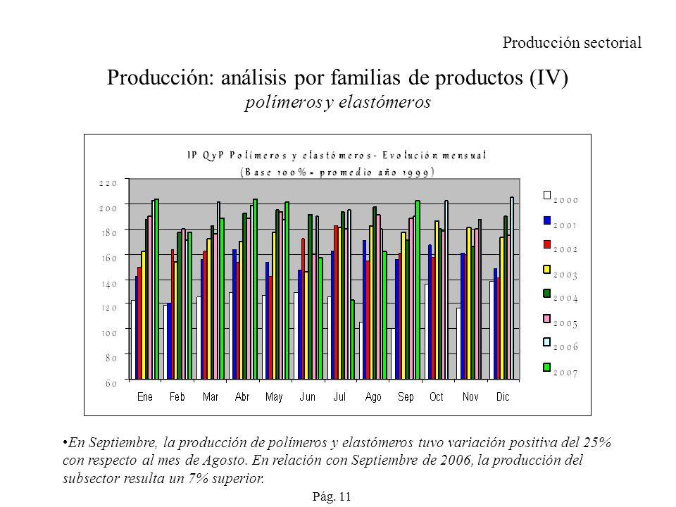 Producción sectorial Producción: análisis por familias de productos (IV) polímeros y elastómeros.
