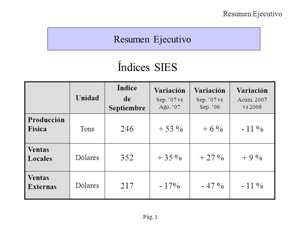 Índices SIES Resumen Ejecutivo 246 + 53 % + 6 % - 11 % 352 + 35 %