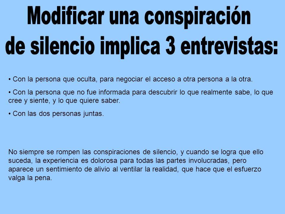 Modificar una conspiración de silencio implica 3 entrevistas: