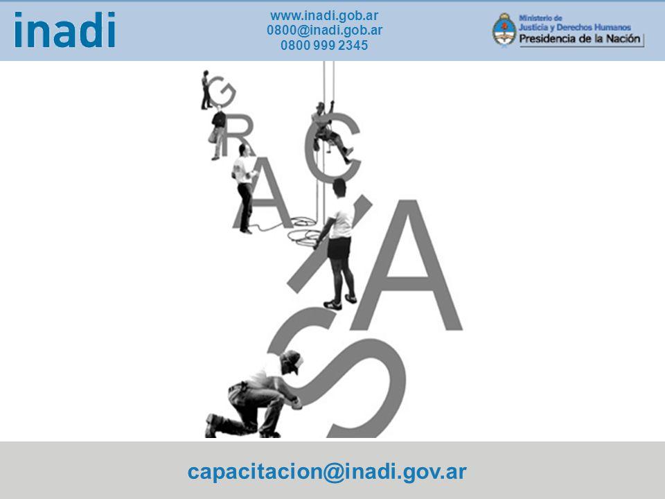 capacitacion@inadi.gov.ar www.inadi.gob.ar 0800@inadi.gob.ar