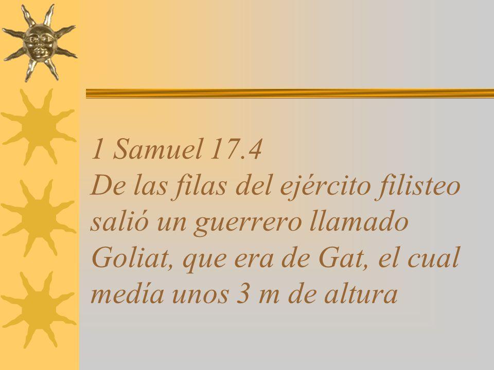 1 Samuel 17.4 De las filas del ejército filisteo salió un guerrero llamado Goliat, que era de Gat, el cual medía unos 3 m de altura