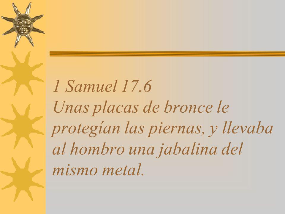 1 Samuel 17.6 Unas placas de bronce le protegían las piernas, y llevaba al hombro una jabalina del mismo metal.
