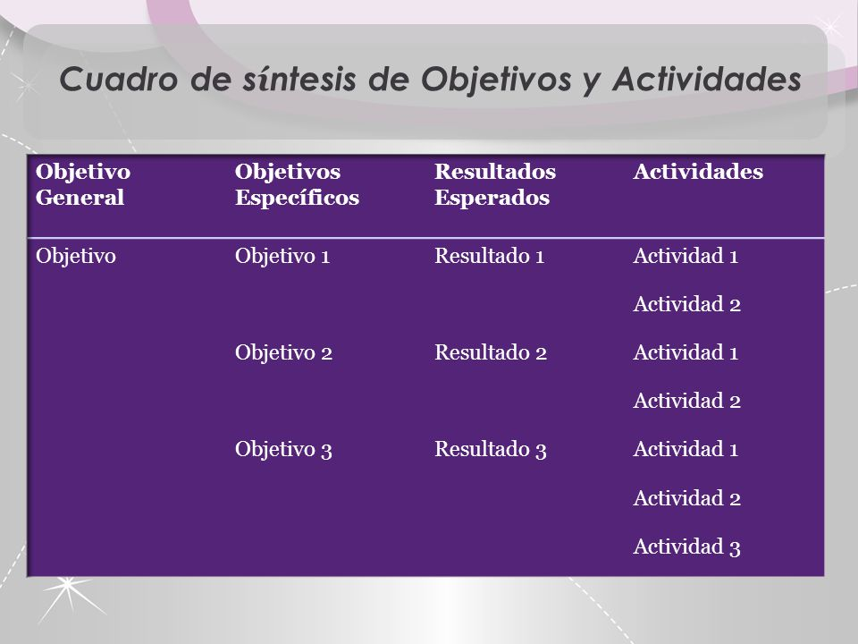 Cuadro de síntesis de Objetivos y Actividades
