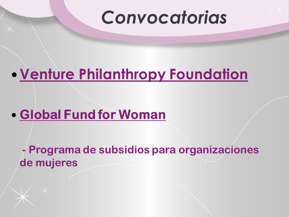 Convocatorias Venture Philanthropy Foundation Global Fund for Woman