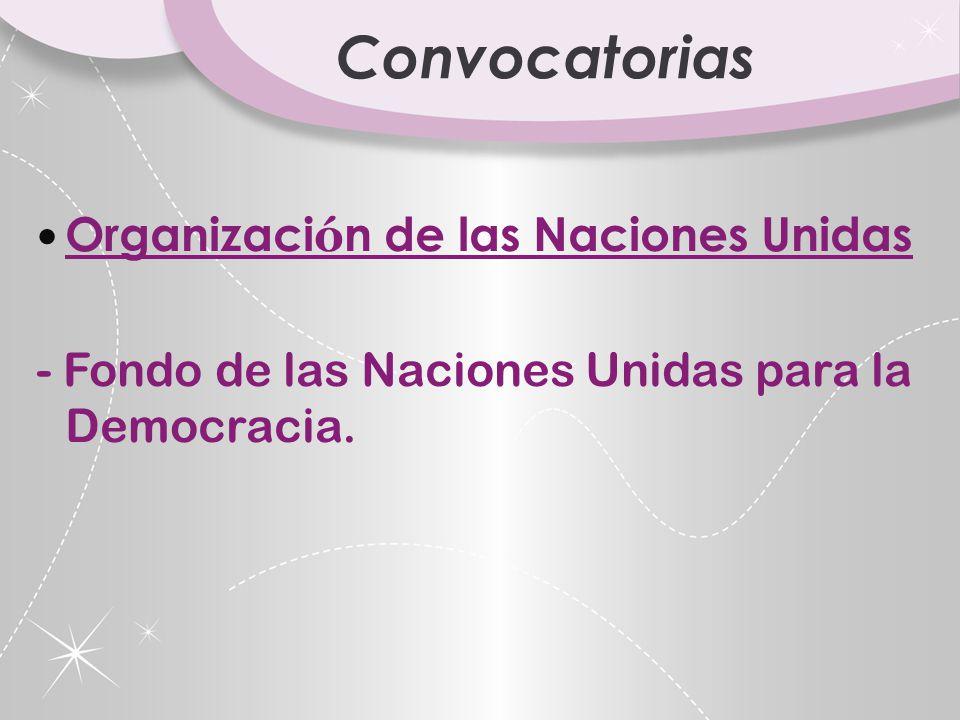 Convocatorias Organización de las Naciones Unidas