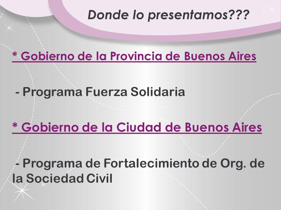 Donde lo presentamos - Programa Fuerza Solidaria