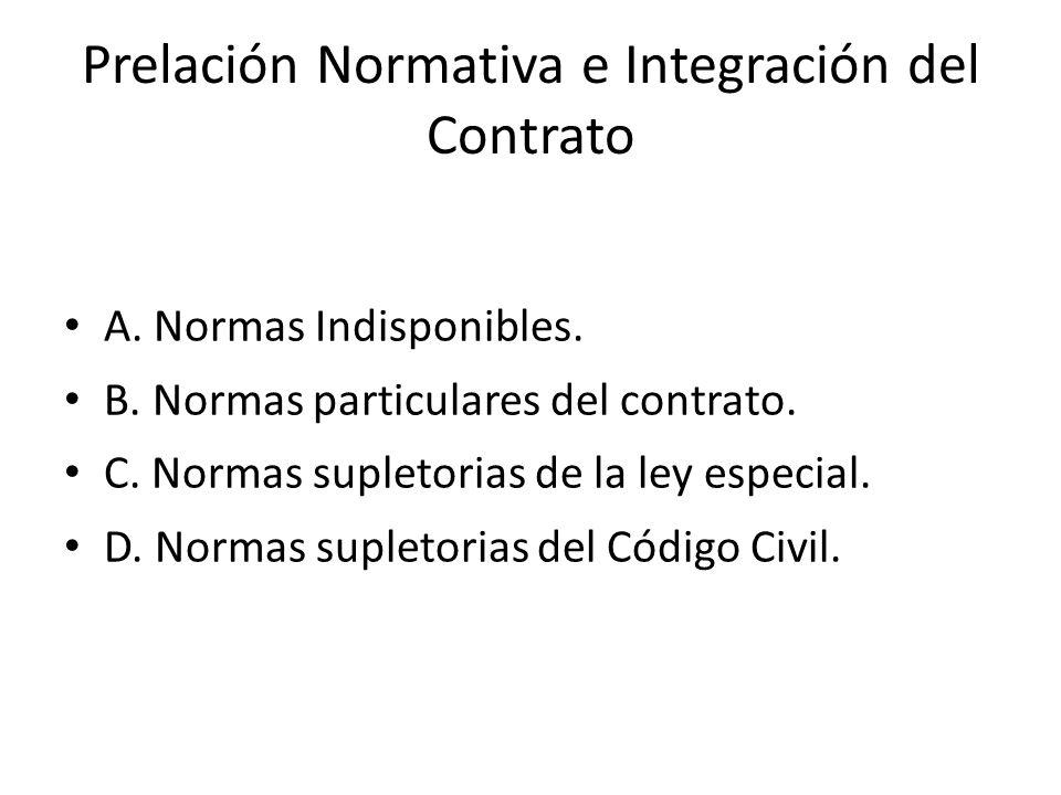 Prelación Normativa e Integración del Contrato