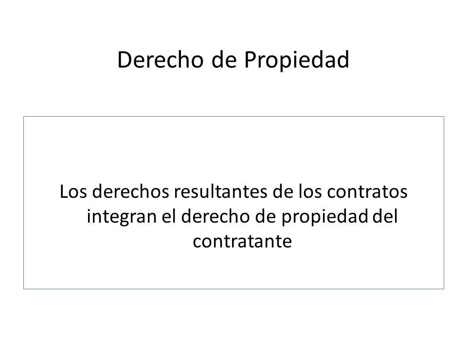 Derecho de Propiedad Los derechos resultantes de los contratos integran el derecho de propiedad del contratante.
