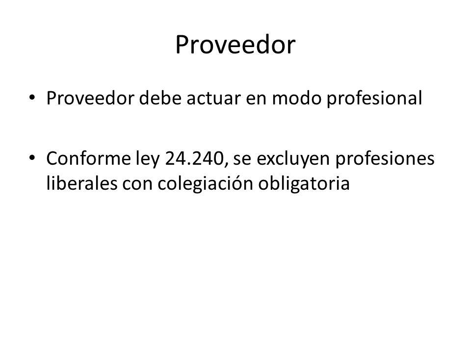 Proveedor Proveedor debe actuar en modo profesional