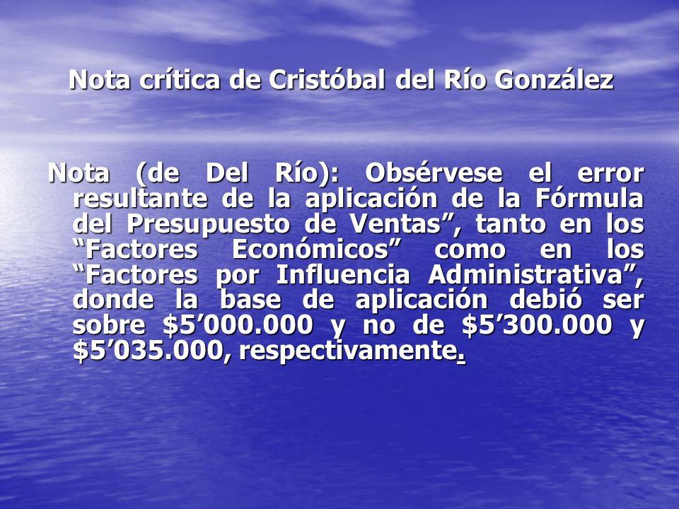 Nota crítica de Cristóbal del Río González