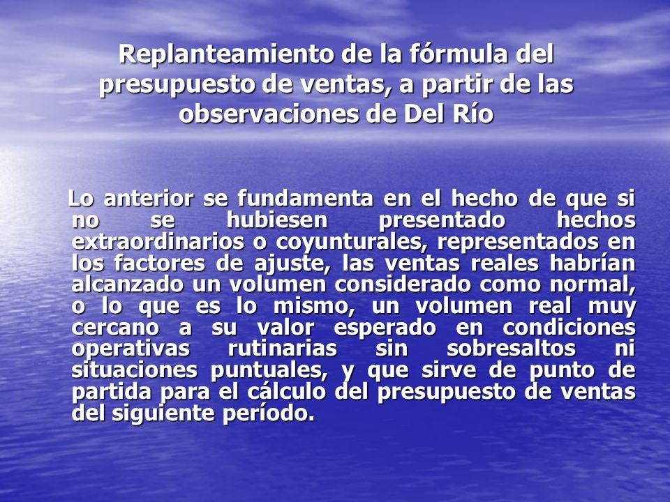 Replanteamiento de la fórmula del presupuesto de ventas, a partir de las observaciones de Del Río