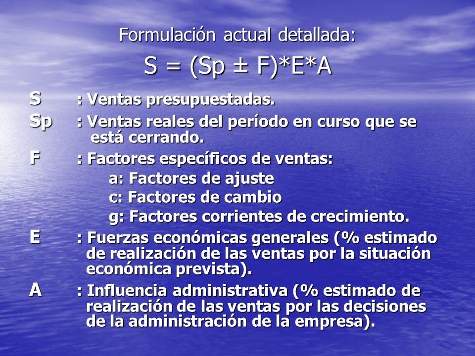 Formulación actual detallada: S = (Sp ± F)*E*A