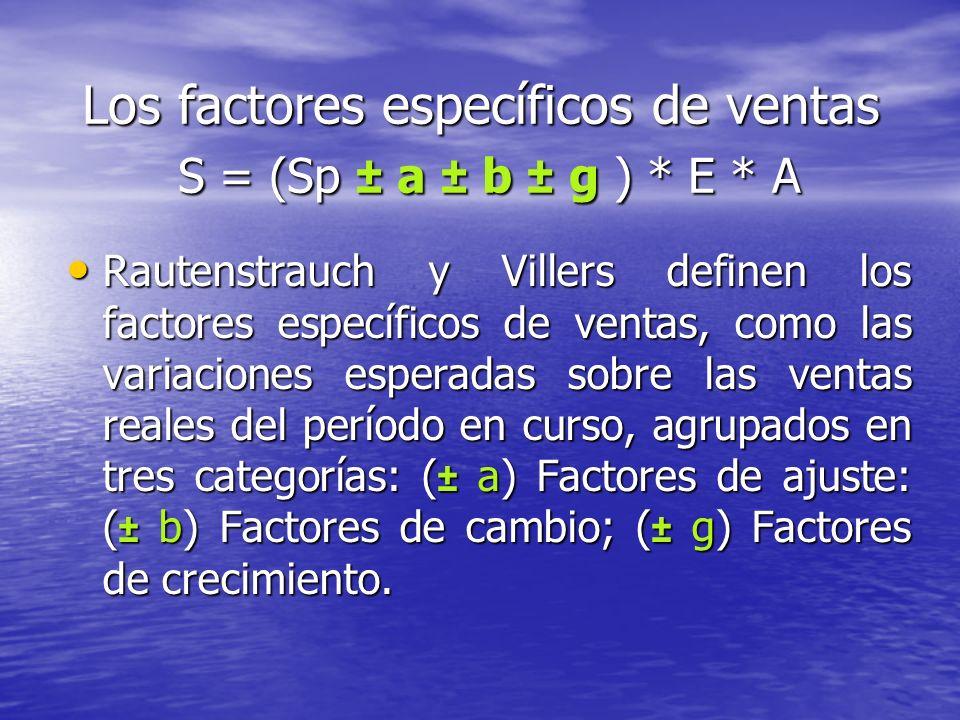 Los factores específicos de ventas S = (Sp ± a ± b ± g ) * E * A