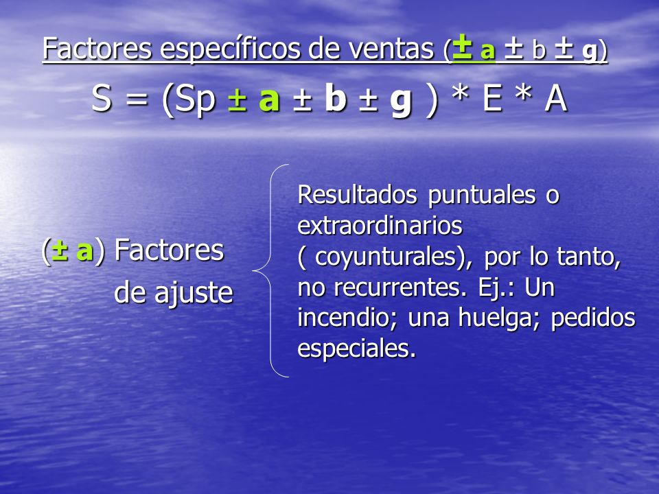 Factores específicos de ventas (± a ± b ± g) S = (Sp ± a ± b ± g ). E