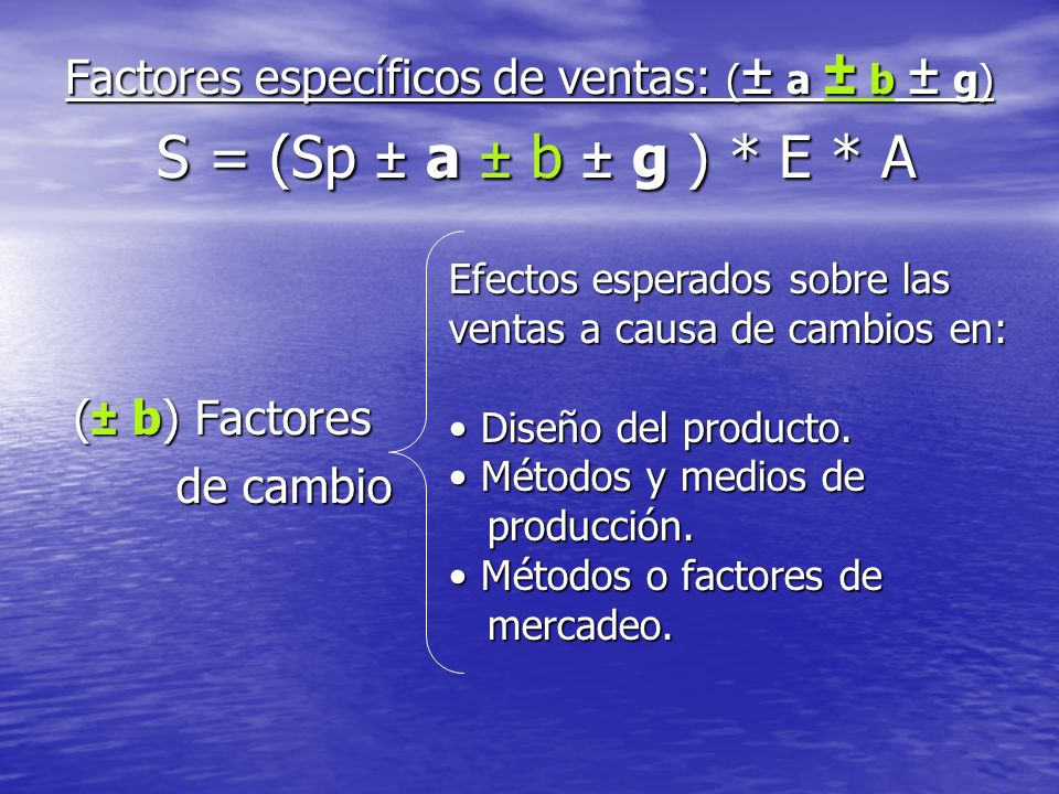 Factores específicos de ventas: (± a ± b ± g) S = (Sp ± a ± b ± g ). E
