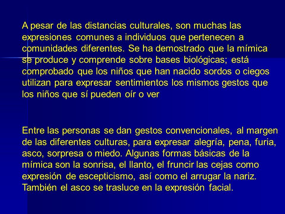 A pesar de las distancias culturales, son muchas las expresiones comunes a individuos que pertenecen a comunidades diferentes. Se ha demostrado que la mímica