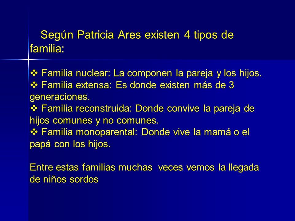 Según Patricia Ares existen 4 tipos de familia: