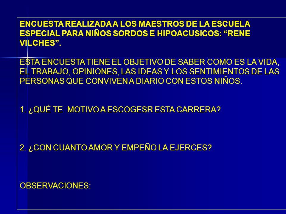 ENCUESTA REALIZADA A LOS MAESTROS DE LA ESCUELA ESPECIAL PARA NIÑOS SORDOS E HIPOACUSICOS: RENE VILCHES .