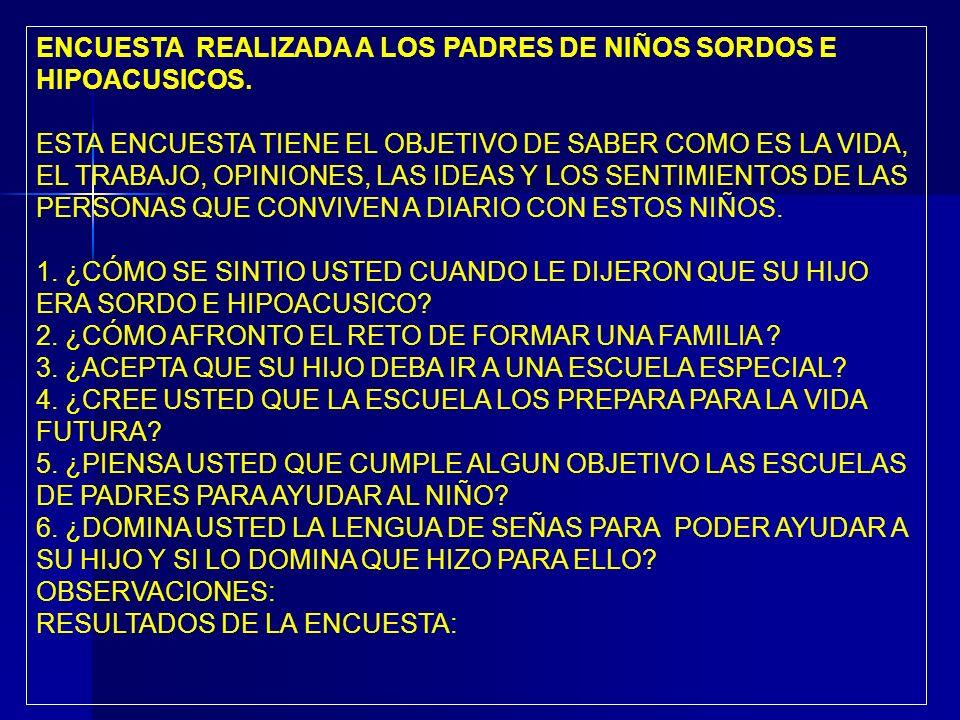 ENCUESTA REALIZADA A LOS PADRES DE NIÑOS SORDOS E HIPOACUSICOS.