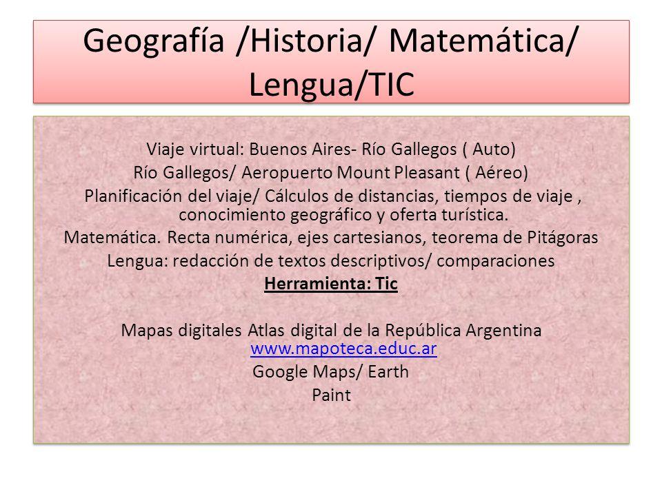 Geografía /Historia/ Matemática/ Lengua/TIC