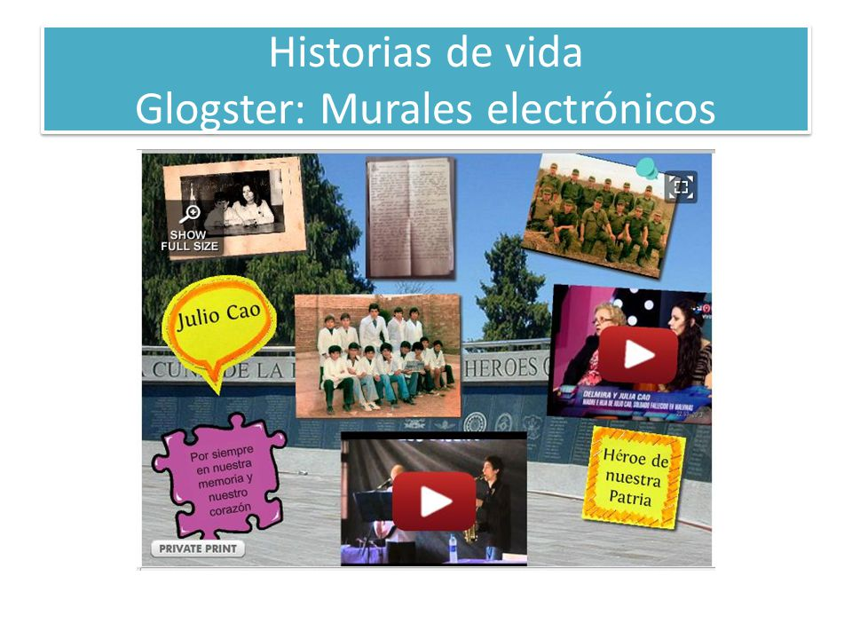 Historias de vida Glogster: Murales electrónicos